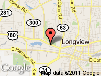 Map of RHODES AUTO SALES at 926 W MARSHALL AVE, Longview, TX 75604