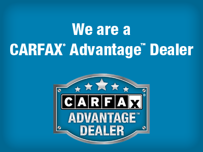 We are a carfax advantage dealer banner with logo