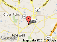 Map of Town & Country Motors II at 10465 Alpharetta St., Roswell, GA 30075