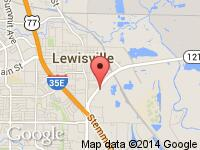 Map of Unique Motorsports at 500 E State Hwy 121, Lewisville, TX 75057
