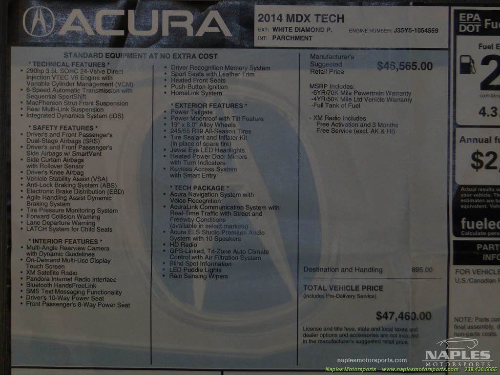 2014 Acura MDX Tech Package - Photo 6 - Naples, FL 34104
