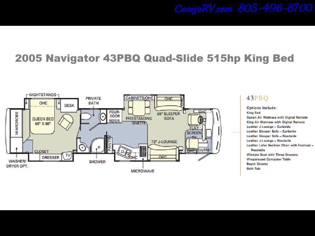 2005 Monaco Holiday Rambler Navigator 43PBQ Quad-Slide 515hp - Photo 50 - Thousand Oaks, CA 91360