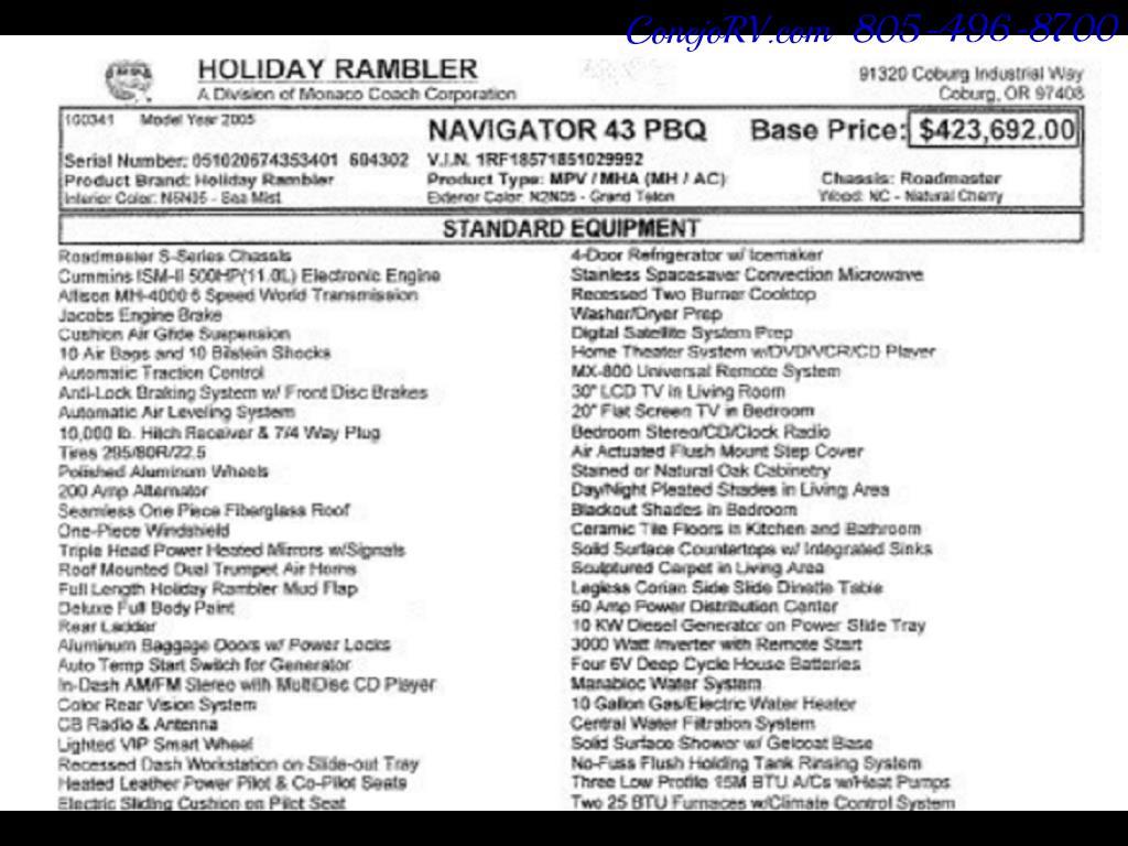 2005 Monaco Holiday Rambler Navigator 43PBQ Quad-Slide 515hp - Photo 2 - Thousand Oaks, CA 91360