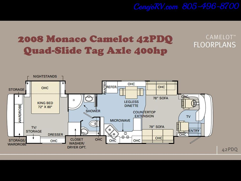 2008 Monaco Camelot 42PDQ Quad Slide Tag Axle 400hp - Photo 36 - Thousand Oaks, CA 91360
