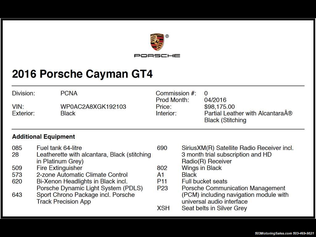 2016 Porsche Cayman GT4; Black w/ Full Buckets & Only 850 Miles! - Photo 58 - Beaverton, OR 97005